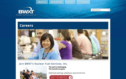 Screenshot of Jobs Page nuclearfuelservices.com - Careers - Nulcear Fuel Services, Inc. - captured Sept. 21, 2018