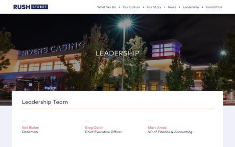 Screenshot of Team Page rushstreetgaming.com - Leadership   Rush Street - captured Sept. 21, 2018