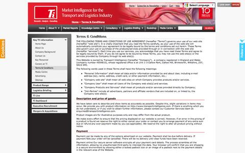 Screenshot of Terms Page transportintelligence.com - Terms & Conditions - Transport Intelligence - logistics research, analysis, solutions, services, trends, third party logistics. - captured Oct. 1, 2014