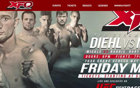 Screenshot of Home Page xfomma.com - Chicago Mixed Martial Arts Organization | - captured July 21, 2016