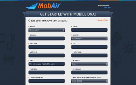 Screenshot of Signup Page mobair.com - Mobair - captured Nov. 2, 2014