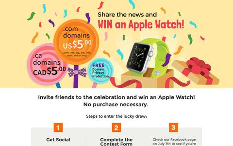 Screenshot of Landing Page doteasy.com - Win an Apple Watch - Web Hosting & Domain Names - Doteasy.com - captured July 26, 2016