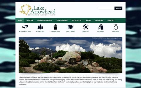 Screenshot of Home Page lakearrowhead.net - Lake Arrowhead Communities Chamber of Commerce Lake Arrowhead Visitor Information - captured Oct. 1, 2014
