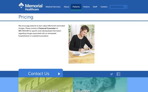 Screenshot of Pricing Page memorialhealthcare.org - Pricing   Memorial Healthcare - captured Jan. 10, 2016