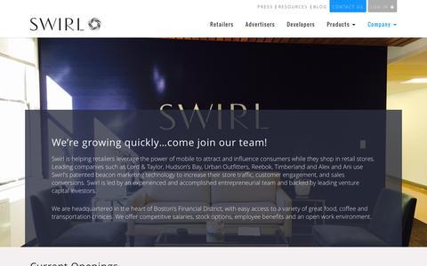 Screenshot of Jobs Page swirl.com - Careers at Swirl Networks - captured Jan. 19, 2016