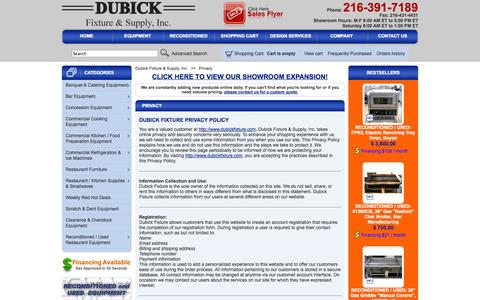 Screenshot of Privacy Page dubickfixture.com - Cleveland Food Service & Catering Equipment - Privacy Policy - captured Oct. 5, 2014