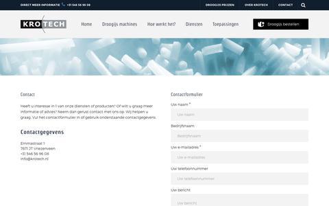 Screenshot of Contact Page krotech.nl - Wij adviseren u graag, neem gerust contact op - KroTech - captured Oct. 9, 2018