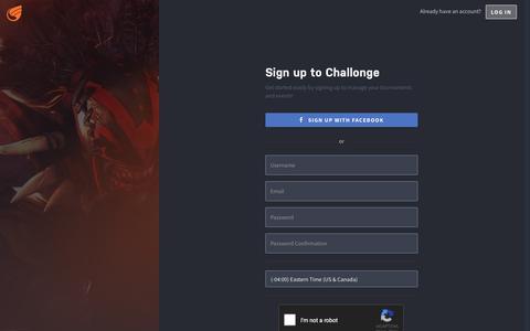 Screenshot of Signup Page challonge.com - Sign Up -  Challonge - captured July 14, 2018