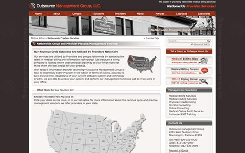 Screenshot of Locations Page outsourcemanagementgroup.com - Nationwide Provider Center - Outsource Management Group, LLC. - captured Oct. 7, 2014