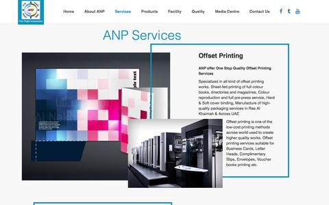 Screenshot of Services Page anps.ae - Al Nakheel Printing & Packaging. Ras Al Khaimah. United Arab Emirates. Leading Printing press company offers commercial printing, offset printing, digital printing, screen printing for public and private sector organisations in Rak, Dubai, Abudhabi,  - captured Nov. 20, 2016