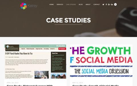 Screenshot of Case Studies Page kairaymedia.com - Case Studies - captured Jan. 17, 2016