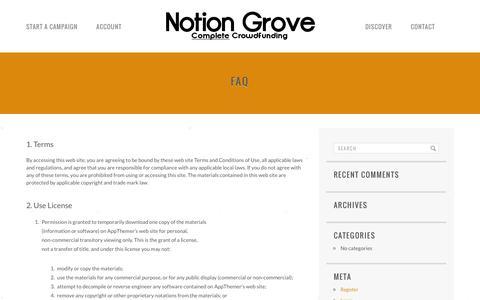 Screenshot of FAQ Page notiongrove.com - FAQ | Notion Grove - captured Feb. 15, 2016