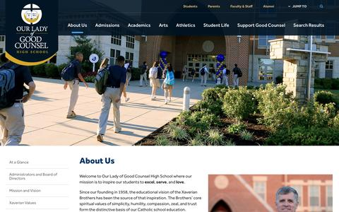 Screenshot of About Page olgchs.org - About Us - Our Lady of Good Counsel High School - Olney, MD - captured Nov. 30, 2016