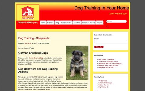 Screenshot of Blog obedientpaws.com - Dog Training In Your Home - captured Oct. 1, 2014