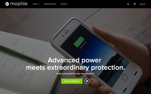 Screenshot of Home Page mophie.com - mophie Official Site | Battery Phone Case - captured Jan. 15, 2015
