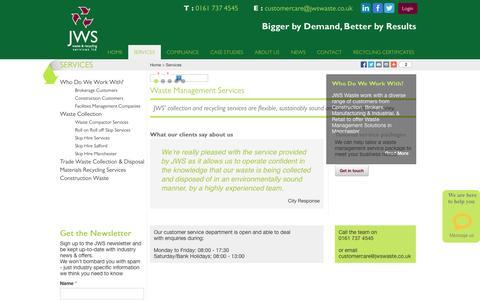 Screenshot of Services Page jwswaste.co.uk - Services | Waste Management UK | Skip Hire Manchester | JWS Waste - captured Oct. 6, 2014