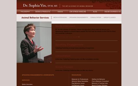 Screenshot of Services Page drsophiayin.com - Animal Behavior Services | Dr. Sophia Yin, DVM, MS - captured Jan. 18, 2016