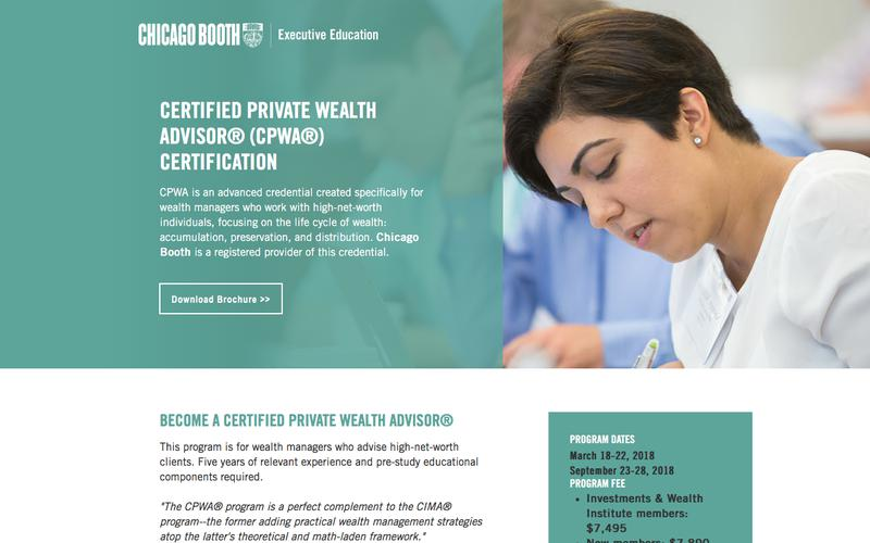 Executive Education at Chicago Booth | Certified Private Wealth Advisor