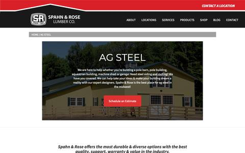 Screenshot of Products Page spahnandrose.com - Ag Steel | Metal Building Products - Spahn & Rose - captured June 16, 2019