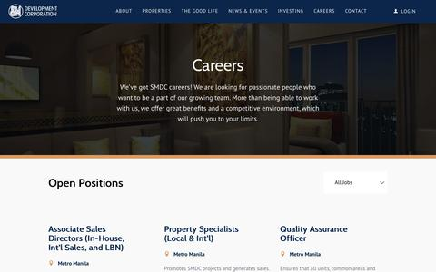 Screenshot of Jobs Page smdc.com - SMDC | Careers - captured Oct. 1, 2018