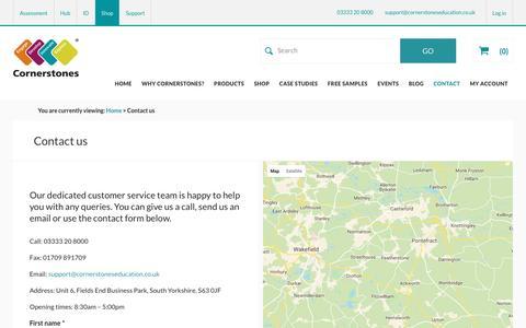 Screenshot of Contact Page cornerstoneseducation.co.uk - Contact us | Cornerstones Education - captured May 22, 2017
