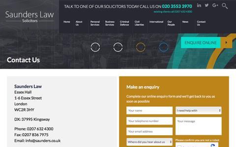 Screenshot of Contact Page saunders.co.uk - Contact Us - Saunders Law - captured Nov. 19, 2016