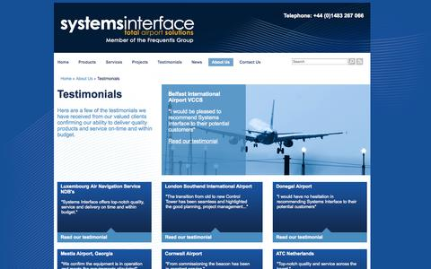 Screenshot of Testimonials Page systemsinterface.com - Testimonials - Systems Interface - captured Oct. 7, 2014