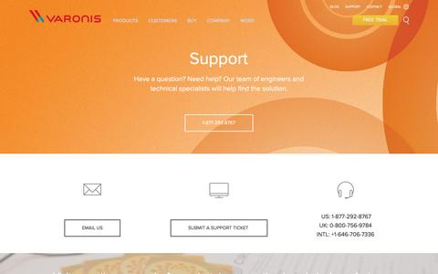 Screenshot of Services Page varonis.com - Support | Varonis - captured Oct. 20, 2015