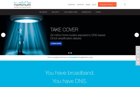 Screenshot of Home Page nominum.com - Providing Telecom Analytics, Security and DNS Network Services - Nominum - captured July 11, 2014