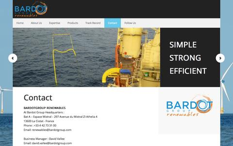 Screenshot of Contact Page bardotgroup-renewables.com - Contacts I Subsea Cable Protection I Bardot Group Renewables - captured Sept. 30, 2014