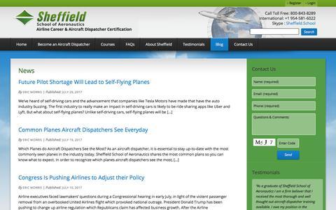 Screenshot of Press Page sheffield.com - News Archives - Sheffield School of Aeronautics - captured Oct. 26, 2017