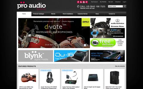 Screenshot of Home Page proaudiosystems.co.uk - Audio Equipment   PA Systems   Wireless Microphones   Pro Audio Systems - captured Sept. 22, 2014