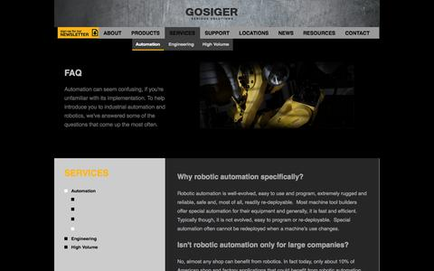 Screenshot of FAQ Page gosiger.com - Factory Automation Solutions Provided by Gosiger - captured Sept. 23, 2014