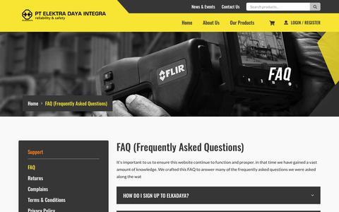 Screenshot of FAQ Page elkadaya.com - FAQ | PT. Elektra Daya Integra - Reliability & Safety - captured Nov. 4, 2018