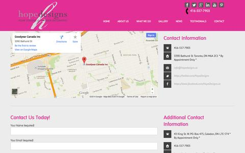 Screenshot of Contact Page hopedesigns.ca - Hope Designs  l Best of Houzz Award 2014 Design Interior Decorating and Toronto Home Staging Contact Hope Designs your leading Interior Decorating & Home Staging Services serving Toronto & the Greater Toronto Area - captured Oct. 3, 2014