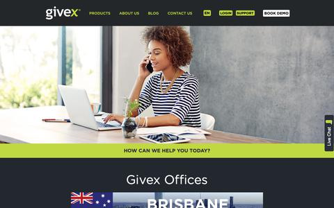 Screenshot of Contact Page givex.com - Our Offices - captured Dec. 15, 2018
