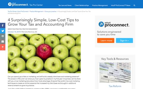 Screenshot of Pricing Page intuit.com - 4 Surprisingly Simple, Low-Cost Tips to Grow Your Tax and Accounting Firm | Tax Pro Center | Intuit ProConnect - captured Nov. 21, 2019