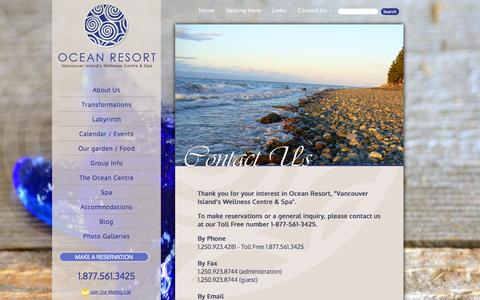 Screenshot of Contact Page oceanresort.ca - Contact Us | Ocean Resort - Vancouver Island's Wellness Centre and Spa - captured Oct. 9, 2014