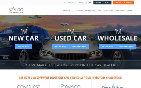 Screenshot of Home Page vauto.com - New and Used Auto Dealership Management Software | vAuto - captured Sept. 28, 2018