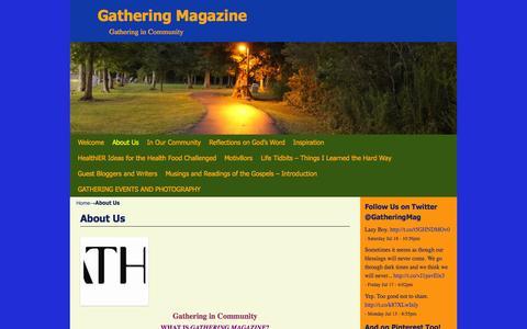 Screenshot of About Page gatheringmagazine.com - About Us | Gathering Magazine - captured July 19, 2015
