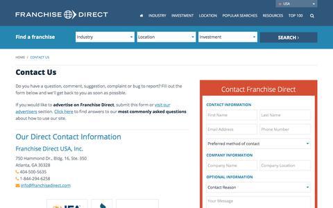 Screenshot of Contact Page franchisedirect.com - Contact Us - captured Nov. 23, 2017