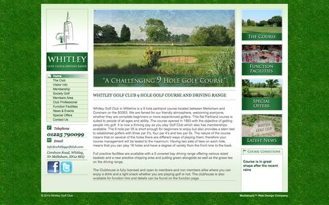 Screenshot of Home Page whitleygolfclub.com - 9 Hole Golf Course and Driving Range - Whitley Golf Club, Wiltshire - captured Sept. 30, 2014
