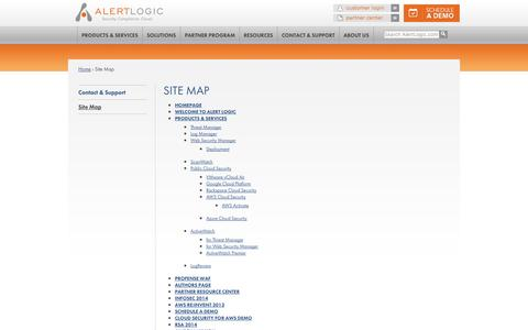 Screenshot of Site Map Page alertlogic.com - Site Map | Alert Logic - captured Sept. 13, 2014