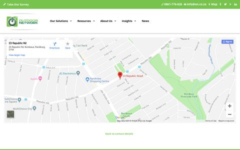 Screenshot of Maps & Directions Page outdoornetwork.co.za - Google Map | Outdoor Network - captured Sept. 20, 2018