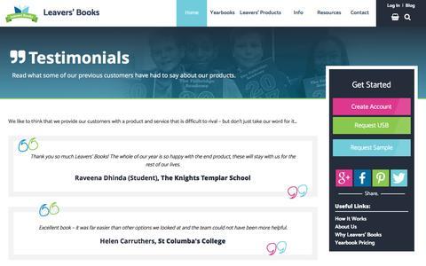 Screenshot of Testimonials Page leaversbooks.com - Testimonials   Leavers' Books - captured May 16, 2017