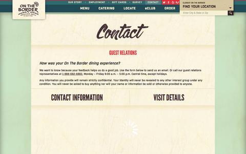 Screenshot of Contact Page ontheborder.com - On The Border - Contact On The Border - On The Border Feedback - captured Sept. 24, 2014
