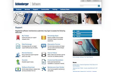 Screenshot of Support Page slb.com - Support - Schlumberger - captured Nov. 3, 2015