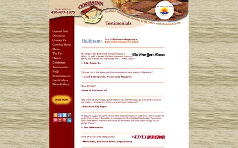 Screenshot of Testimonials Page costasinn.com - Costas Inn Testimonials - See What Our Customer Saying about Us and Our Foods - captured Sept. 30, 2014