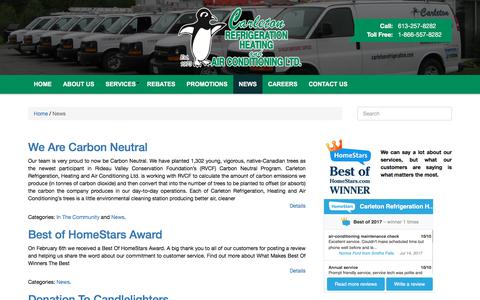 Screenshot of Press Page carletonrefrigeration.com - News | Carleton Refrigeration - captured July 15, 2017