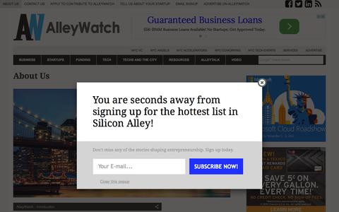 Screenshot of About Page alleywatch.com - About Us - AlleyWatch - captured Oct. 26, 2015